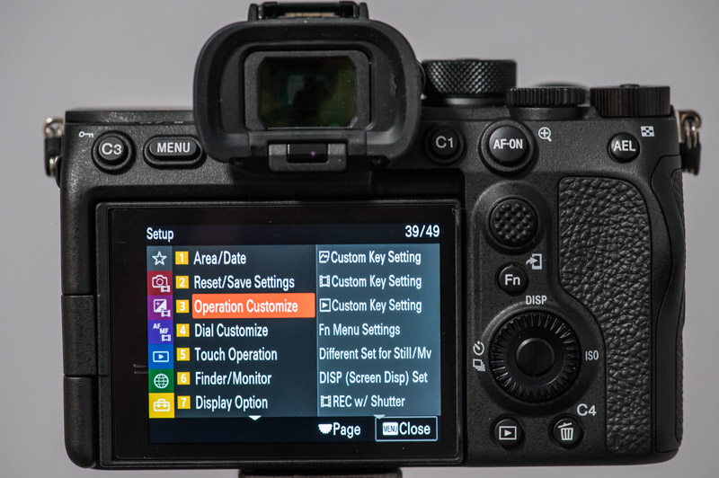 Sony A7S III custom menu