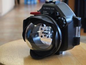 precision brand dome port for the panasonic 8mm fisheye lens, olympus housing